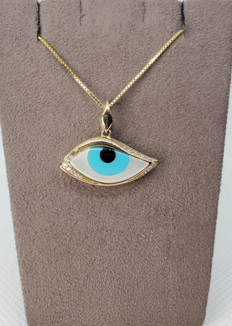 Kabana Mother of Pearl, Turquoise & Onyx Evil Eye with Diamonds