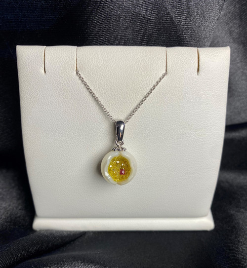 Galatea Galaxia Pearl Pendant with Lab-Grown Yellow Diamond Druzy and Ruby