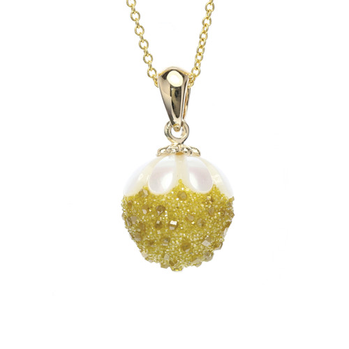 Galatea Galaxia Pearl Pendant with Lab-Grown Yellow Diamond Druzy