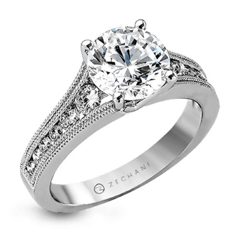 Zr1033 Engagement Ring 14k Gold White Semi