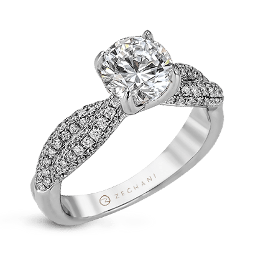 Zr1035 Engagement Ring 14k Gold White Semi
