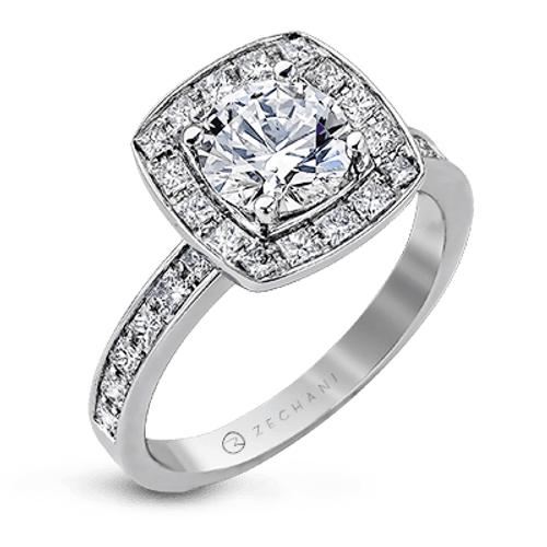 Zr1038 Engagement Ring 14k Gold White Semi