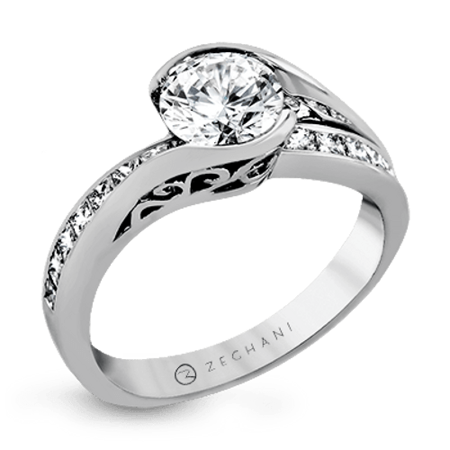 Zr1049 Engagement Ring 14k Gold White Semi
