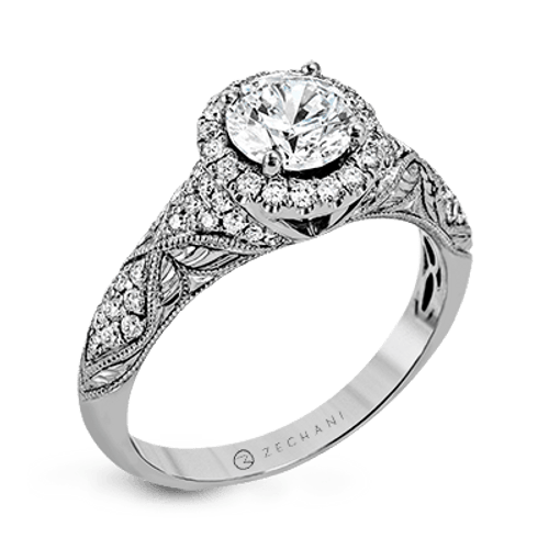 Zr1053 Engagement Ring 14k Gold White Semi