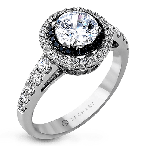 Zr1054 Engagement Ring 14k Gold White And Black Semi