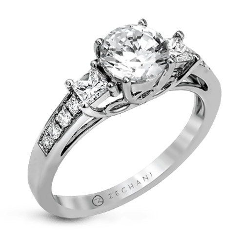Zr1110 Engagement Ring 14k Gold White Semi
