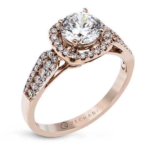 Zr1133 Engagement Ring 14k Gold White Semi