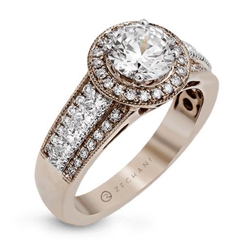 Zr1134 Engagement Ring 14k Gold White Semi