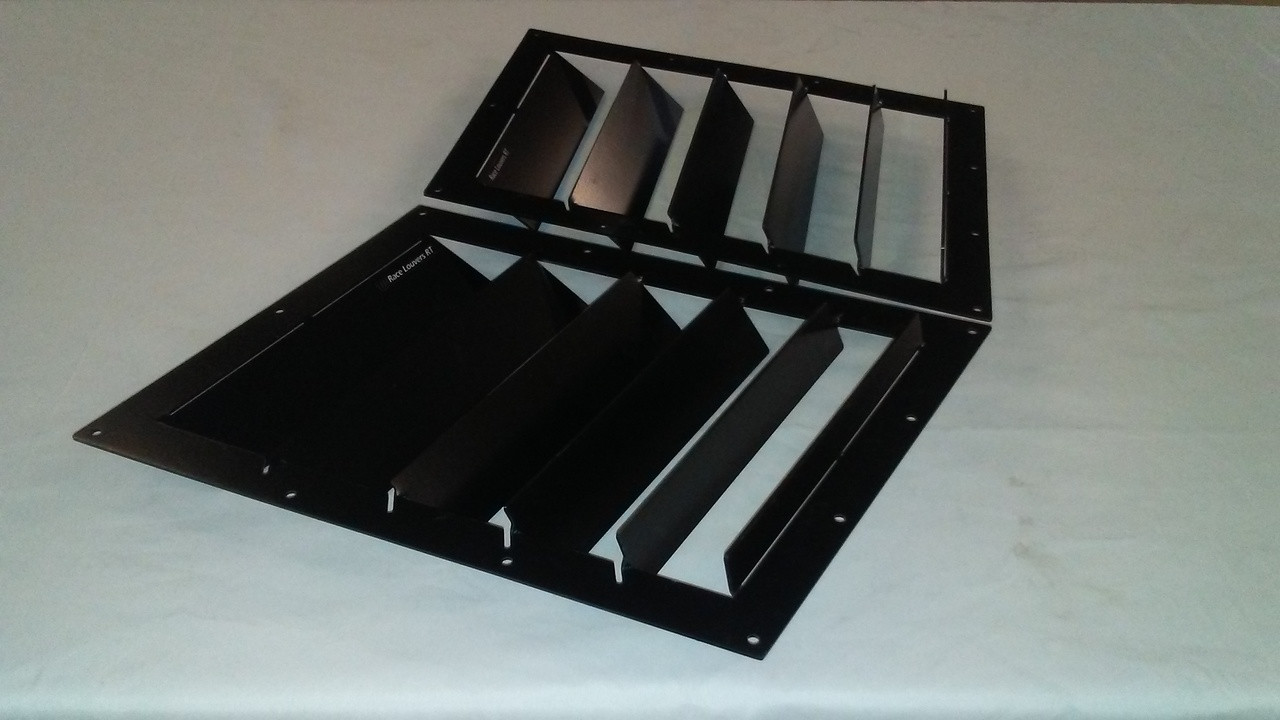 Race Louver RT trim straight angular pair car hood extractor is designed for street, high performance driving and track duty.