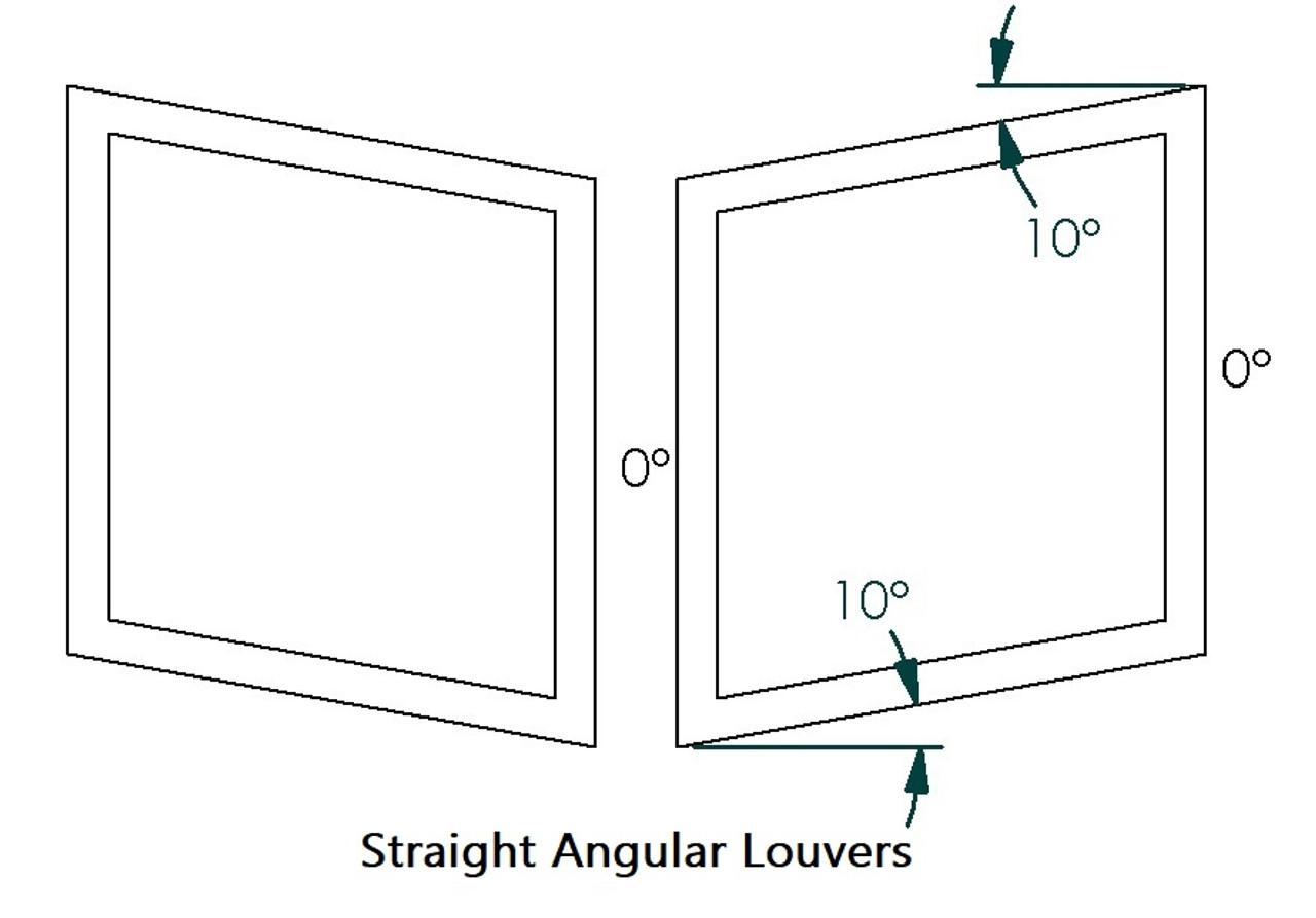 "Angular Hood Louvers Pair, 20"" W x 14""D, RT Track Trim"