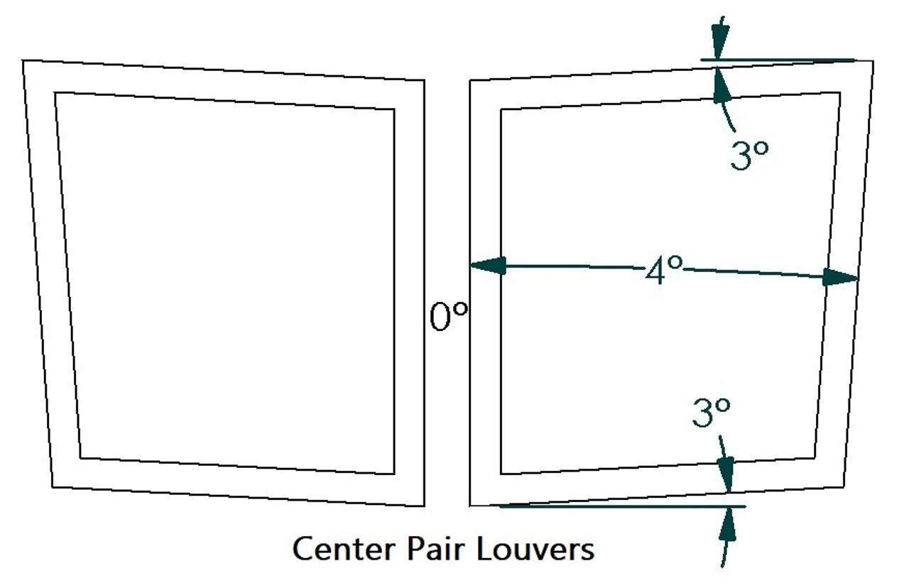 """Center Hood Louvers Pair, 24""""W x 16.5""""D, RX Extreme Trim"""