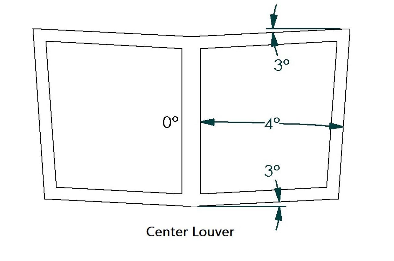 "Center Hood Louvers, 24""W x 14""D, RT Track Trim"