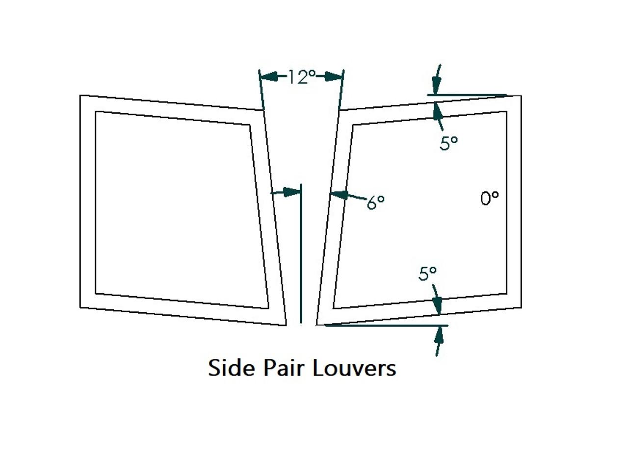 "Side Hood Louvers Pair, 14""W x 19.5""D, RT Track Trim"