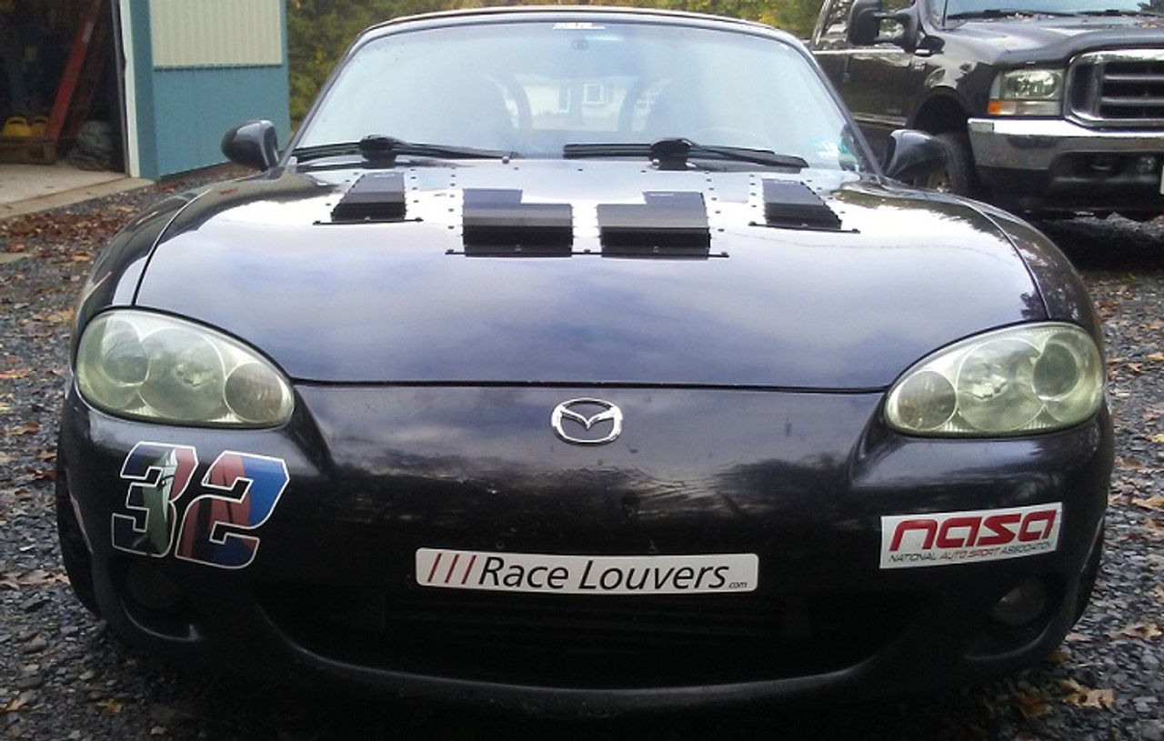 Race Louver Miata NA/NB RT track trim center hood extractor is designed for street, high performance driving and track duty.