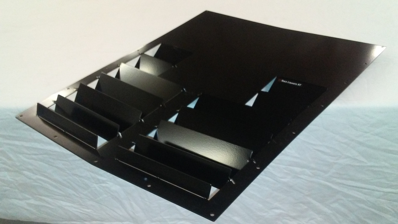 Race Louver RT track trim center hood extractor is designed for street, high performance driving and track duty.