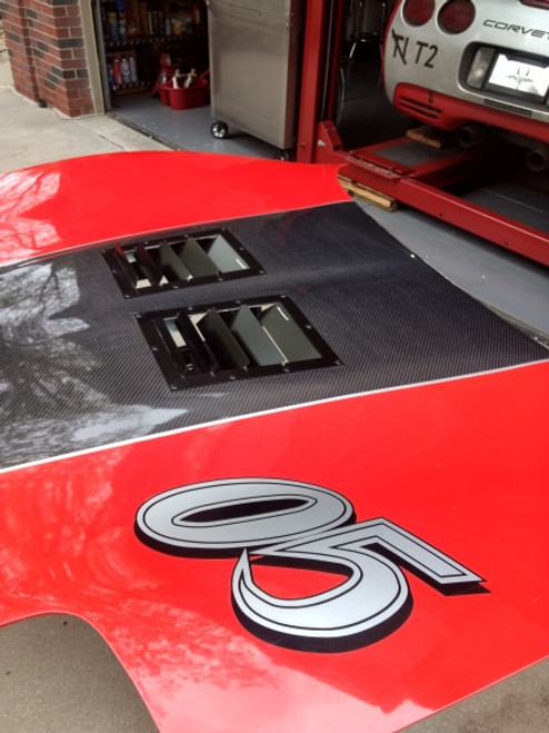 Race Louvers SCCA T2 T3 STU legal hood vents.  Best performing, maximum size permitted.