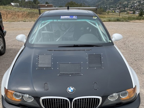 Race Louver BMW E46 RS street trim center car hood vent designed for street, high performance driving and light track duty.
