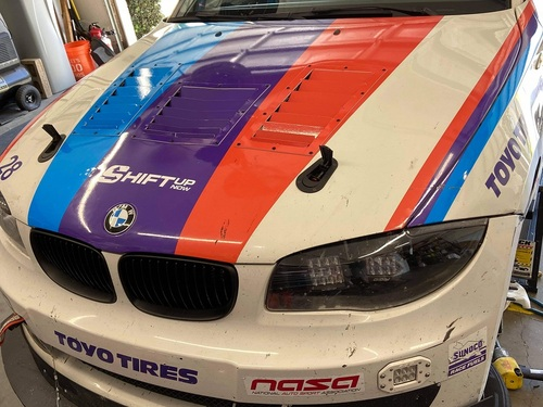 Race Louver BMW E82 Nasa ST/TT3-6 Spec center car hood vent designed for street, high performance driving and light track duty.