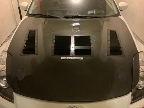 Race Louver 370Z Nasa ST/TT3-6 Spec center car hood vent designed for street, high performance driving and light track duty.