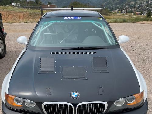 Race Louver BMW E46 Nasa ST/TT3-6 Spec center car hood vent designed for street, high performance driving and light track duty.