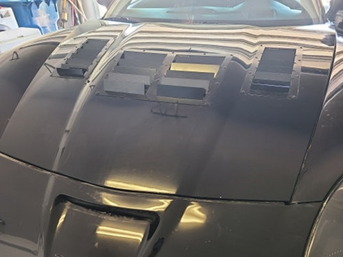 Race Louver C6 RS trim straight angular pair car hood vent designed for street, high performance driving and light track duty.