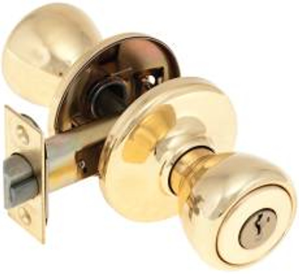 "•Keyed for use on exterior doors. Interior turnbutton or exterior key will lock or unlock both knobs. 2 keys included •Features: Most popular residential replacement lock series on the market •5 pin tumbler cylinder •Easy to install •Easy to rekey •Made in U.S.A. •Door prep: Crossbore: 2-1/8"", edge bore: 1"" •Backset: 2-3/8"" - 2-3/4"" adjustable standard or drive-in •Door: 1-3/8"" - 1-3/4"" thickness •Cylinder: 5 pin tumbler •Keyed: KA3 •Faceplate: 1"" x 2-1/4"" latchface •Strikes: 2-1/4"" high full lip square corner standard •ANSI: Meets A156.2 •  Packed: 30 per case •Bright brass finish"