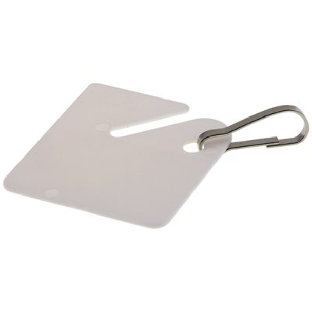 Blank White plastic Key Tag with Hook