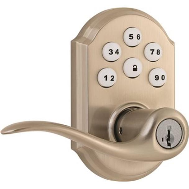 Kwikset Tustin Satin Nickel SmartCode Electronic Entry Door Lever Featuring SmartKey Security