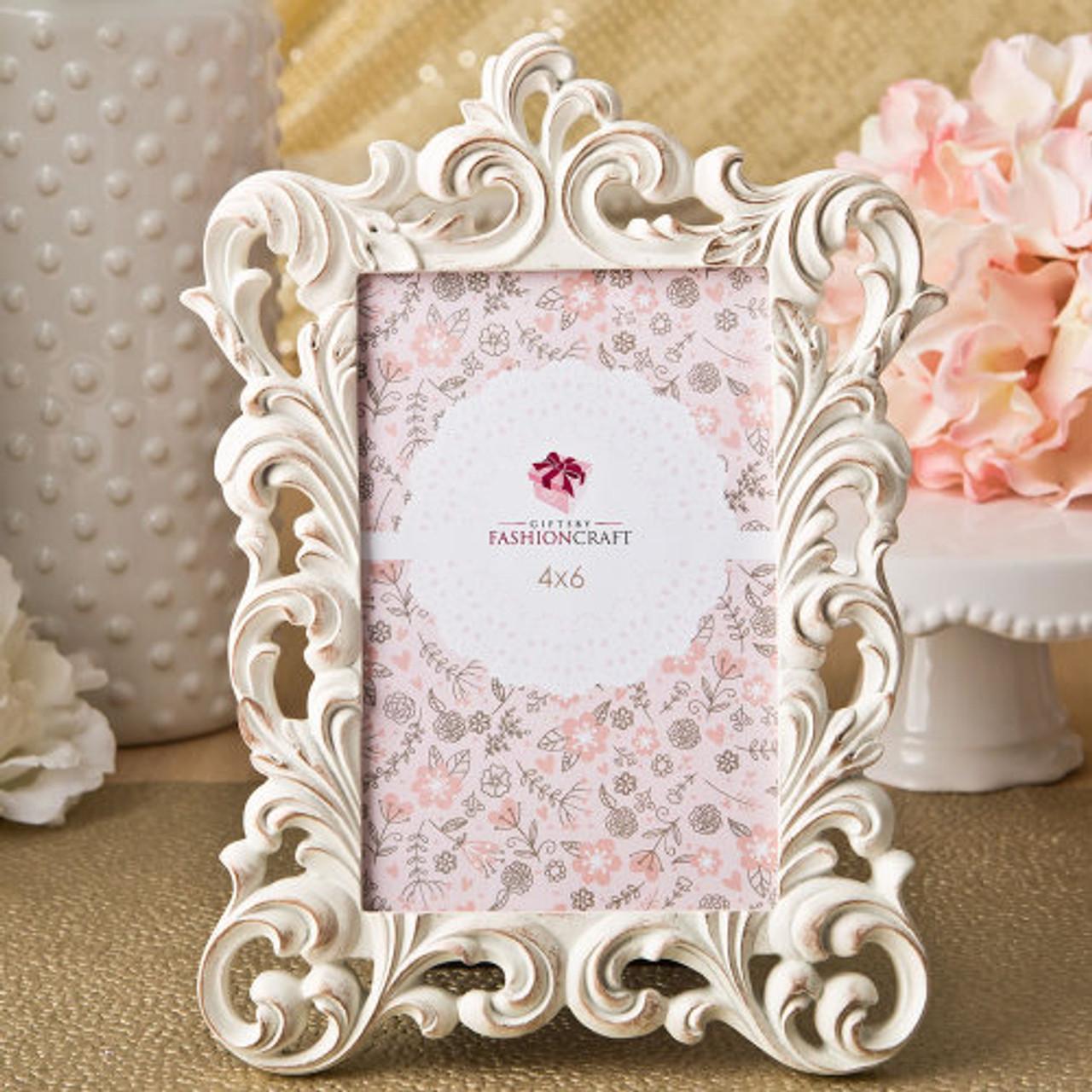 FASHIONCRAFT Ivory and brushed Gold leaf design place card frame photo frame