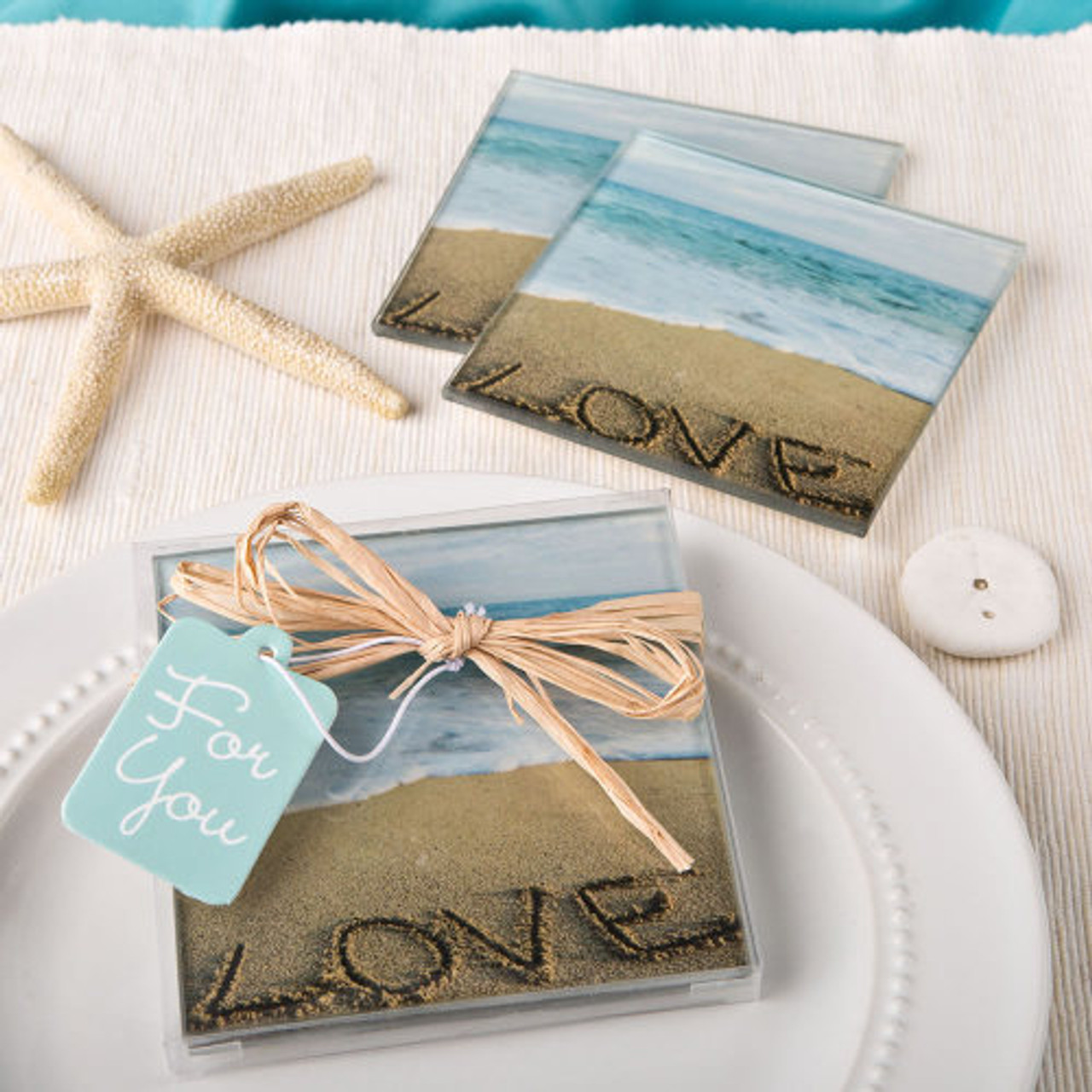 12 Count Beach Love Paper Favor Bags with Ribbon Blue Brown Party Gift Favor NEW