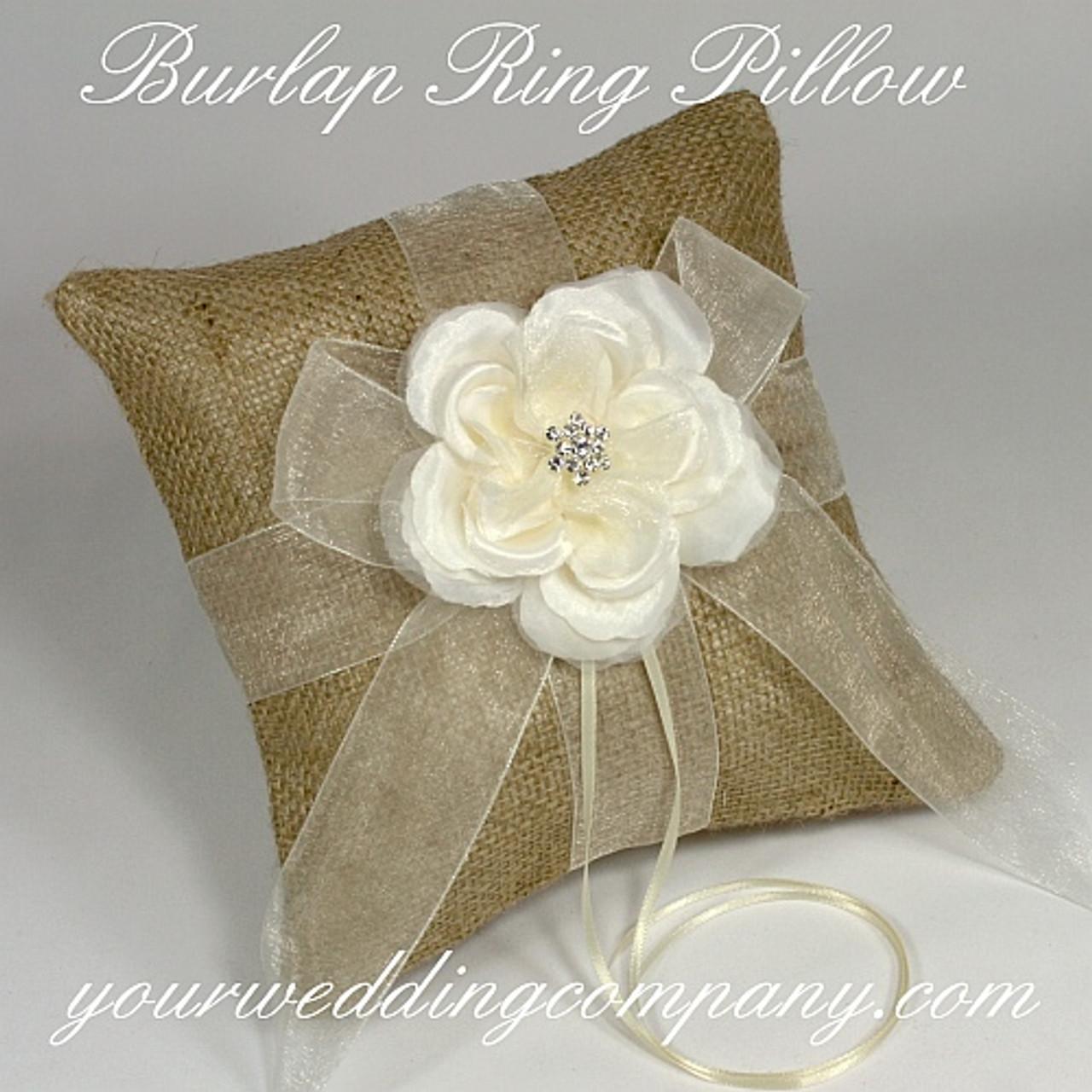 southwestern wedding hessian ring cushion rustic wedding beige satin ribbons Minimalist burlap ring bearer pillow beach