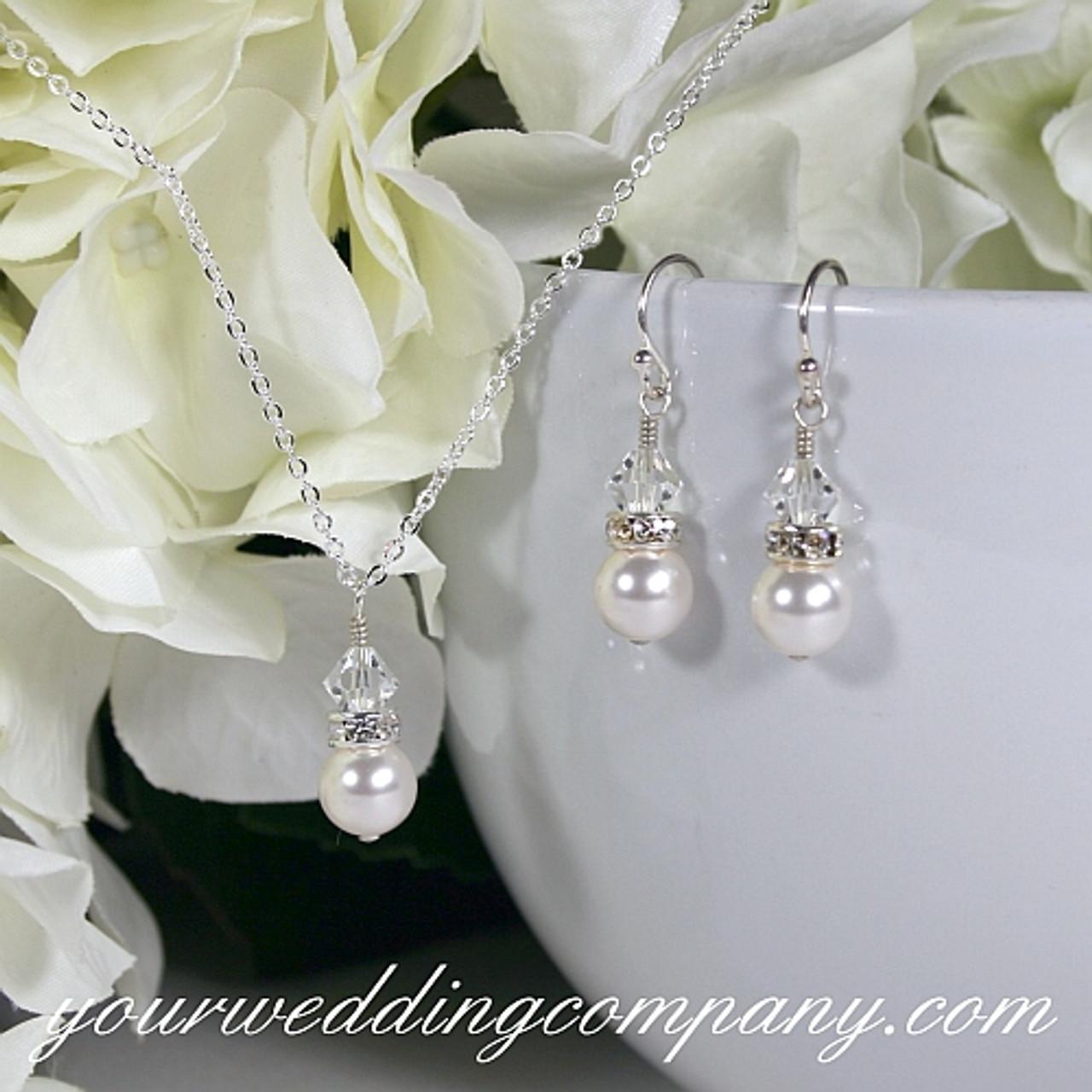 Swarovski Pearl Drop Necklace & Earrings Set