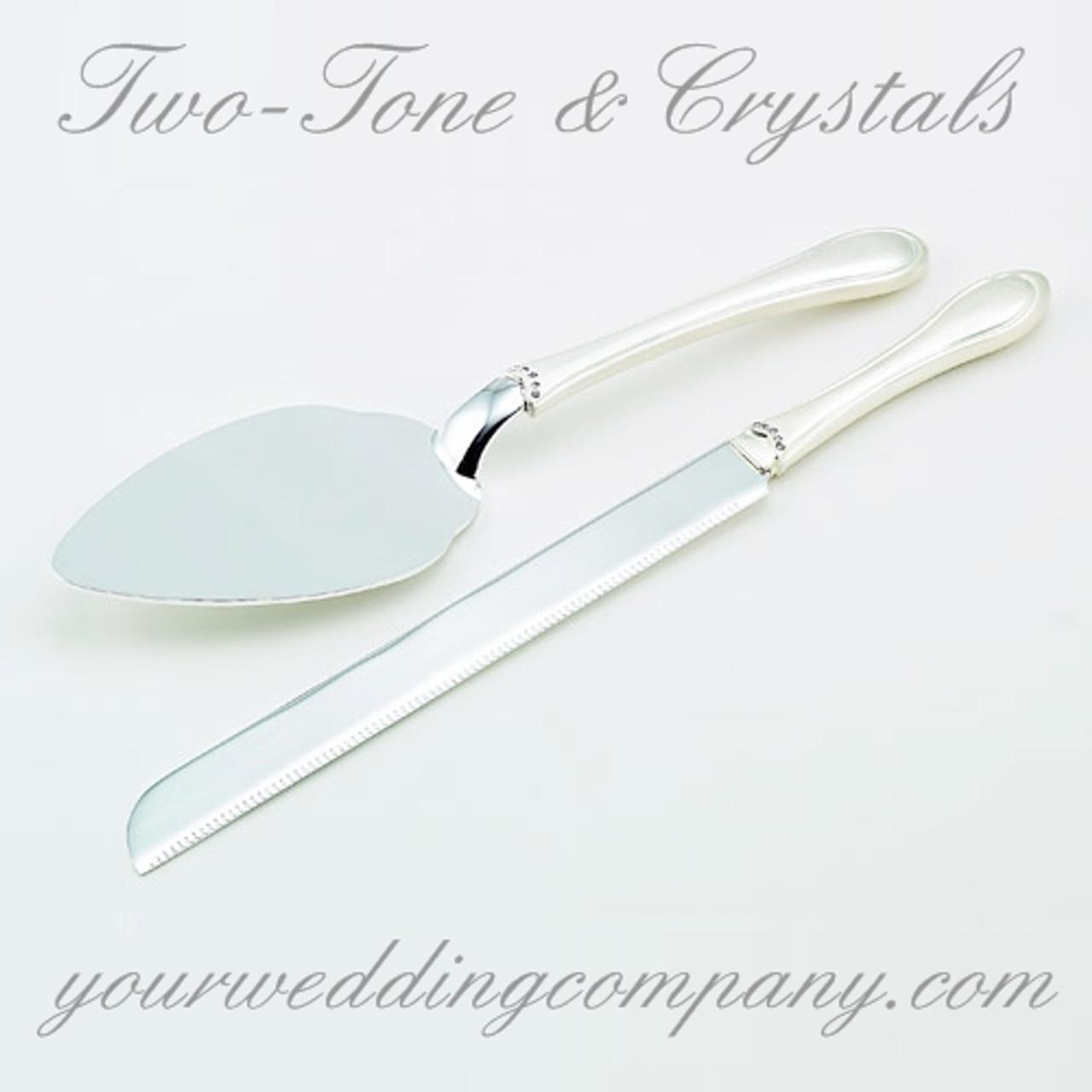 Two Tone Cake Server Set With Crystals Wedding Cake Cutting Set