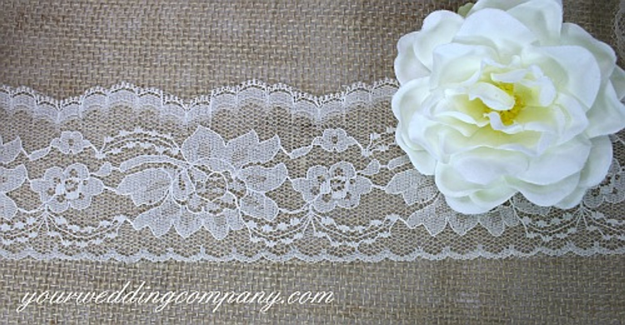 "Ivory Circle Medallion Scalloped Lace Trim 4½ /"" wide"