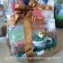 Shredded Crinkle Paper Filler used in a Gift Basket (Forest Green)