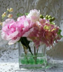 Pink Wedding Centerpiece - Clear Acrylic Square Vase