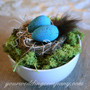 Robin Egg Centerpiece with Brown Feather Accent