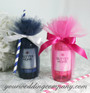 Miniature Wine Bottle Wedding Favor - Hot Pink and Navy 15-inch Tulle Circles