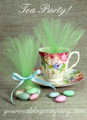 Bridal Shower Tea Party Favor Wrapping With Lime Tulle Circles