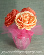 Coral Rose Wedding Centerpiece Wrapped in Hot Pink 15-inch Tulle Circles