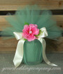 Sage 15 inch Tulle Circles - Candle Wedding Favor Wrapping Idea