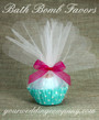 Bath Bomb Favor Wrapping Idea Using Large White Tulle Circles -