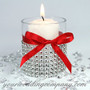 Red Satin Ribbon - Wedding Candle Decoration