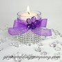 Purple Sheer Favor Ribbon on Glass Votive Cup