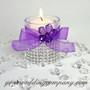 Purple Sheer Favor Ribbon on Glass Votive Cup