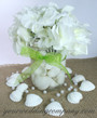 Mason Jar Beach Centerpiece with Lime Wedding Favor Ribbon