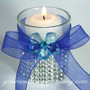 Royal Blue Sheer Favor Ribbon on Glass Votive Cup