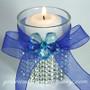 Royal Blue Sheer Favor Ribbon on Glass Votive Cup