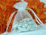 Petite drawstring wedding favor bags - White