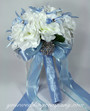 White Rose Wedding Bouquet - Blue Satin & Chiffon Ribbons